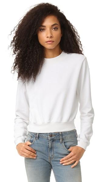 Milan White Cropped Cotton Sweatshirt in Bone