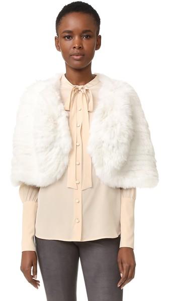 ADRIENNE LANDAU Knit Fur Capelet in White
