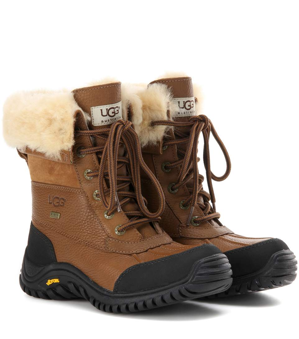 UGG ADIRONDACK II FUR-TRIMMED LEATHER BOOTS, OTTER