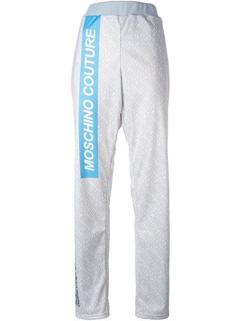 Woman Printed Stretch-Jersey Track Pants Sky Blue in Grey