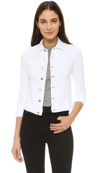Celine Slim Distressed Denim Jacket, Blanc Destruct