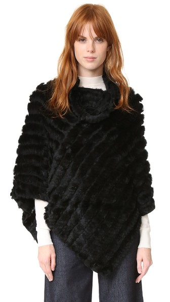 ADRIENNE LANDAU Knit Fur Poncho in Black
