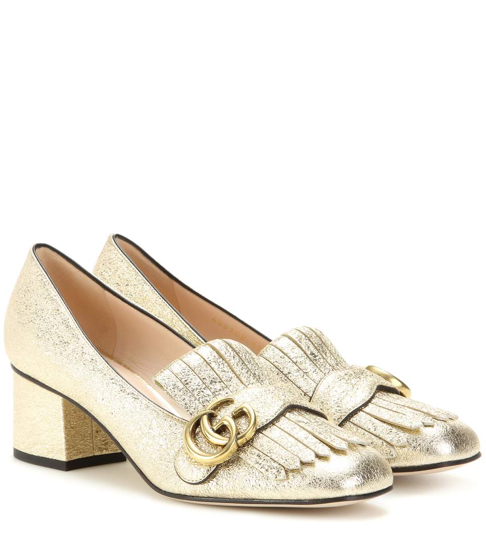 Marmont Fringed Logo-Embellished Metallic Cracked-Leather Loafers in Gold