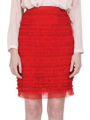 Ruched Tulle Stripe Pencil Skirt, Red