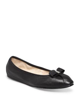 My Joy Leather Ballet Flats, Nero, Nero/Silver