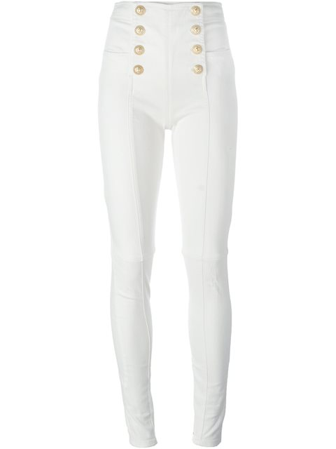 Button-Embellished High-Rise Skinny Jeans in White