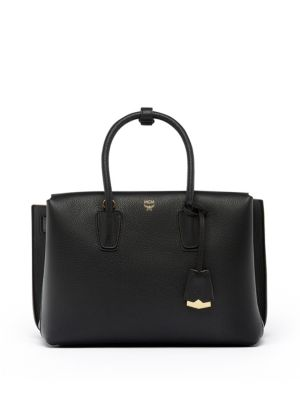 Milla Studded Outline Tote In Grained Leather, Black