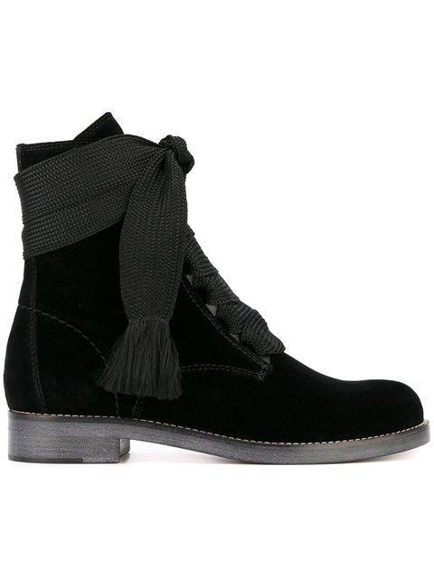Harper Lace-Up Velvet Ankle Boots, Black