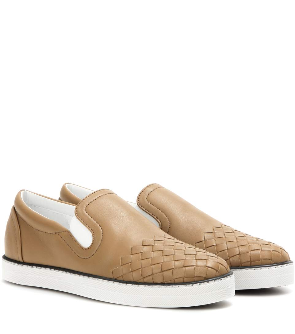 2cc4bd81c269 BOTTEGA VENETA Intrecciato Leather Slip-On Sneakers in Camel Eew ...