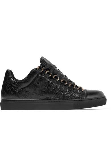 Ladies Black Arena Leather Sneakers