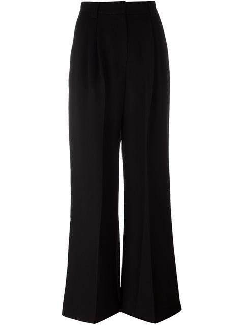 Elastic-Waist Wide-Leg Striped-Jacquard Pants in Black