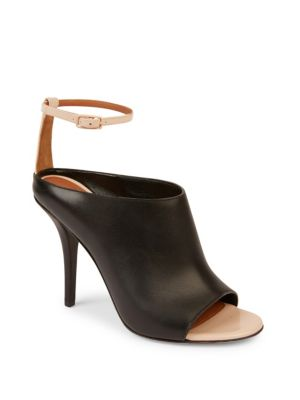 High-Vamp Leather Ankle-Wrap Sandals in Black