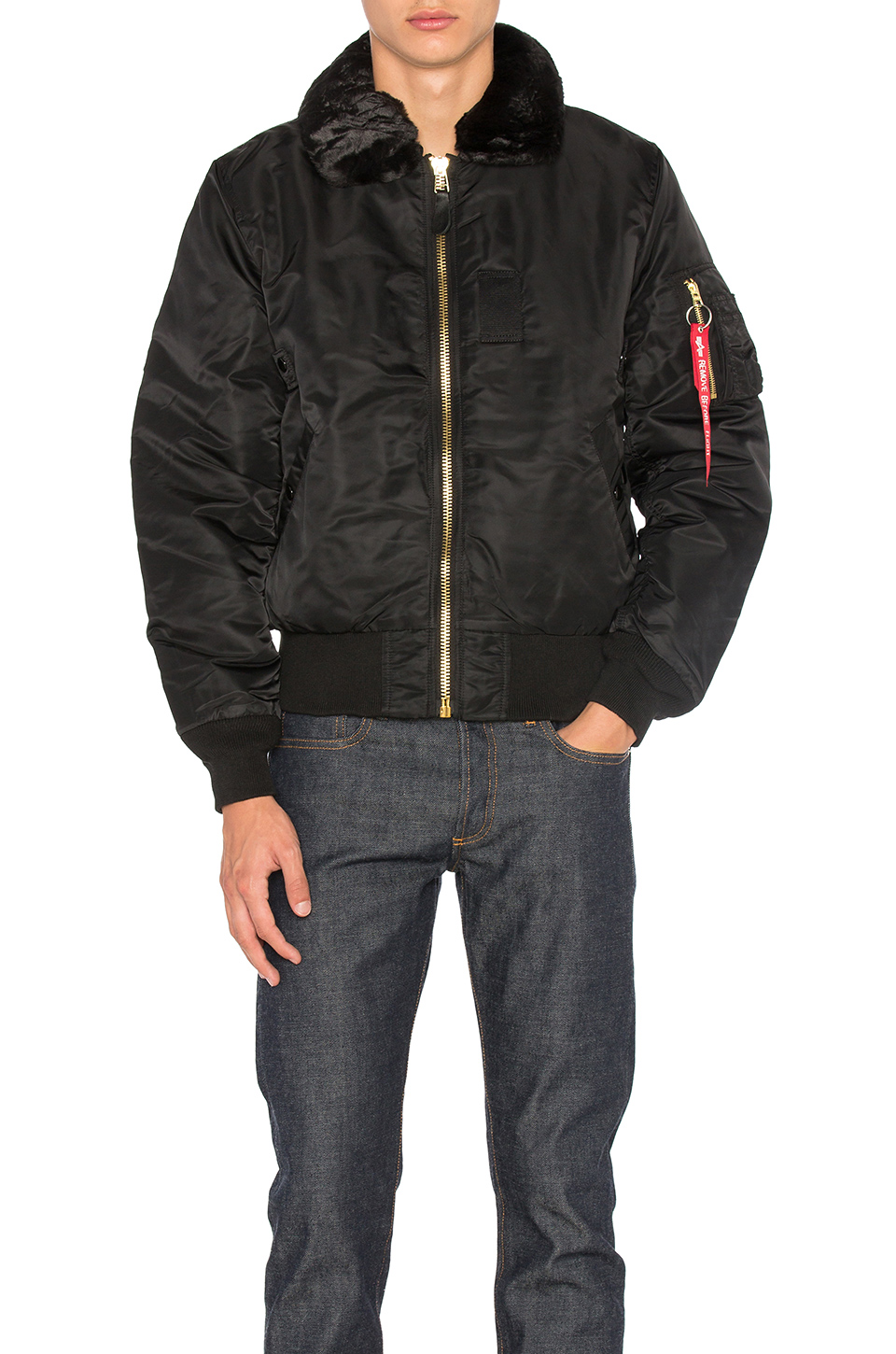 B-15 Removable Faux Fur Collar Flight Jacket, Black from EAST DANE