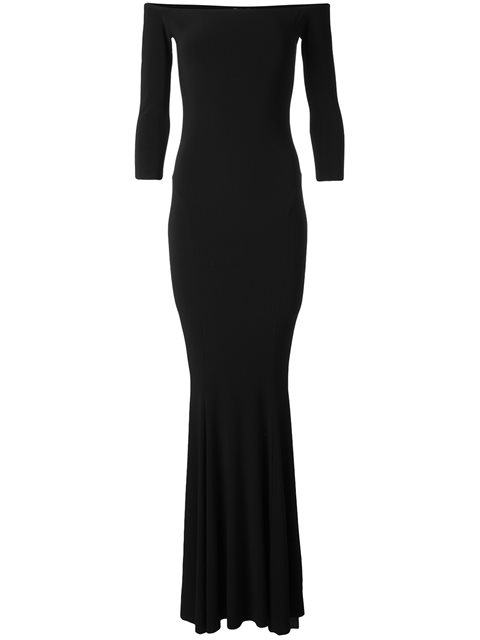 NORMA KAMALI Off-The-Shoulder 3/4 Sleeves Fishtail Evening Gown in Blue
