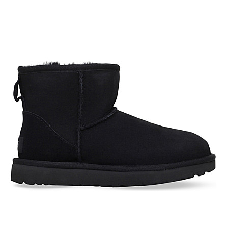 'Classic Mini Ii' Genuine Shearling Lined Boot (Women), Black Suede