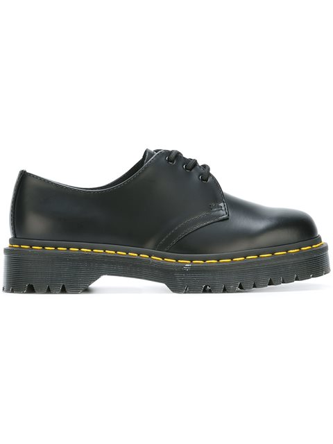 3-Eyelet Leather Shoes, Black