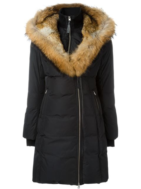 Fur-Trimmed Trish Down Coat in Black