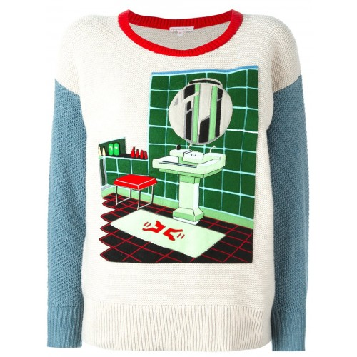 OLYMPIA LE-TAN Felt Bathroom Patch Jumper in Neutrals
