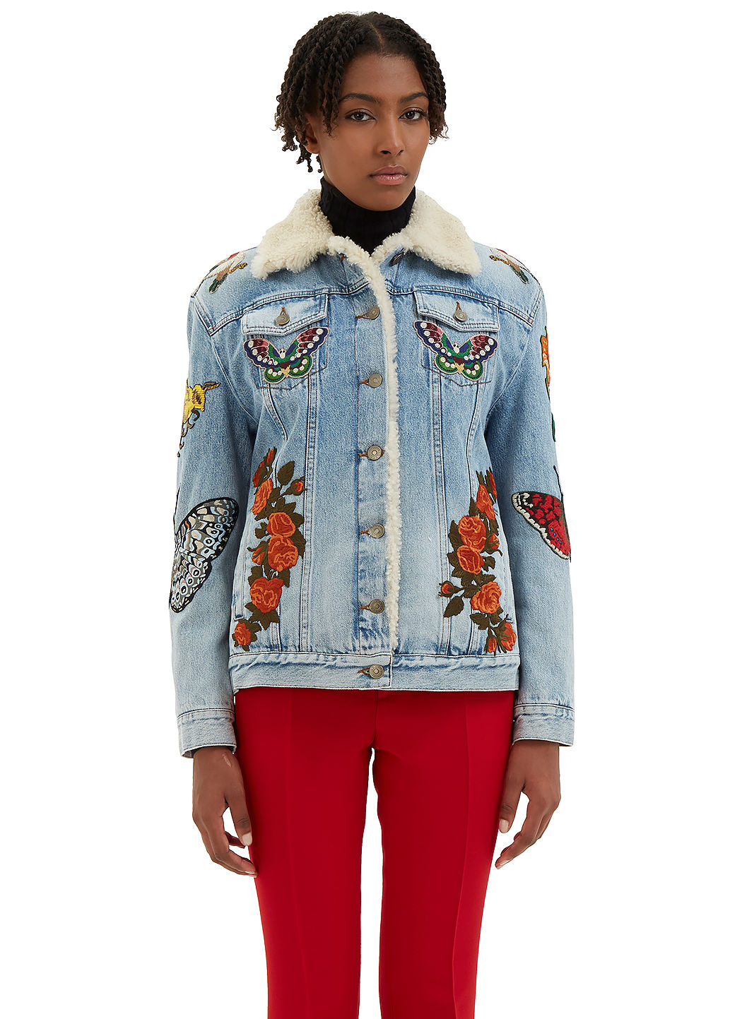 GUCCI WOMEN'S EMBROIDERED DENIM SHEARLING JACKET IN BLUE