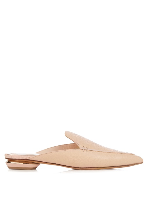 Beya Grained-Leather Backless Loafers in Powder-Pink