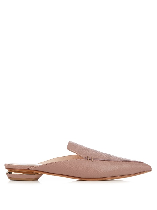 Beya Point-Toe Grained-Leather Backless Loafers, Mauve-Pink