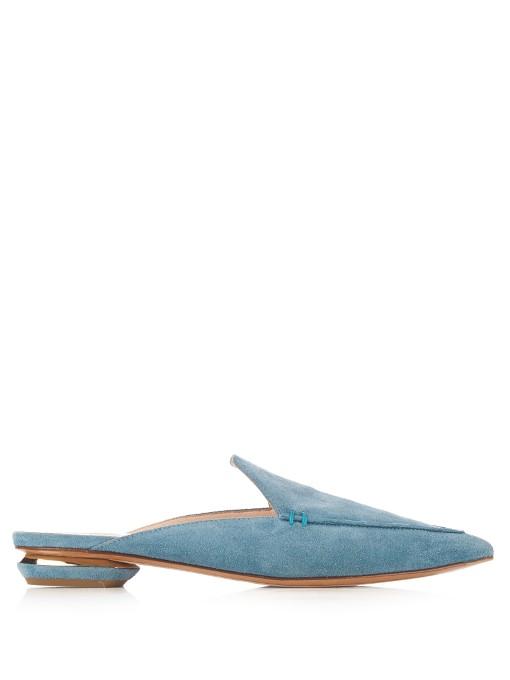 Blue Suede Beya Slip-On Loafers, Dusky-Blue