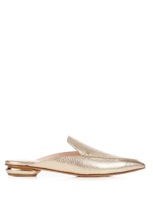 NICHOLAS KIRKWOOD Beya Metallic Textured-Leather Slippers, Metallic-Gold