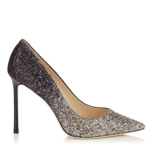 Romy 100 Light Mocha And Black Speckled Glitter Dégradé Pointy Toe Pumps, Light Mocha/Black
