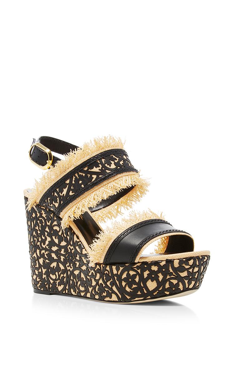 Oscar de la Renta Embossed Wedge Sandals Enjoy Cheap Price New And Fashion Fake Online Affordable Online IvDf02v