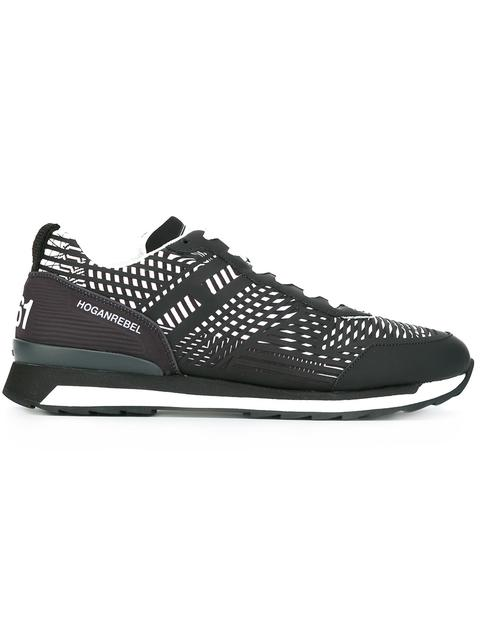 HOGAN REBEL Men'S Shoes Leather Trainers Sneakers R261 3D in Black
