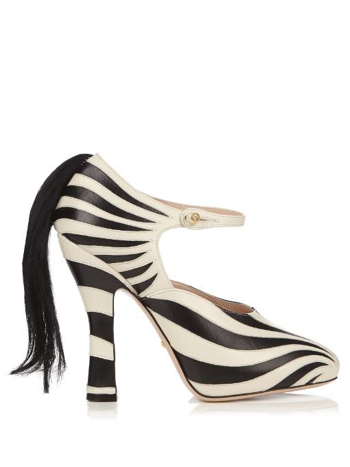 GUCCI Lesley Zebra-Appliqué Leather Pumps, Black White