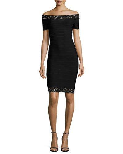 Grommet Off-The-Shoulder Bandage Dress, Black/Combo