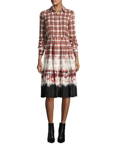 Maria Plaid Tie-Dye Voile Shirtdress, Scarlet in Red