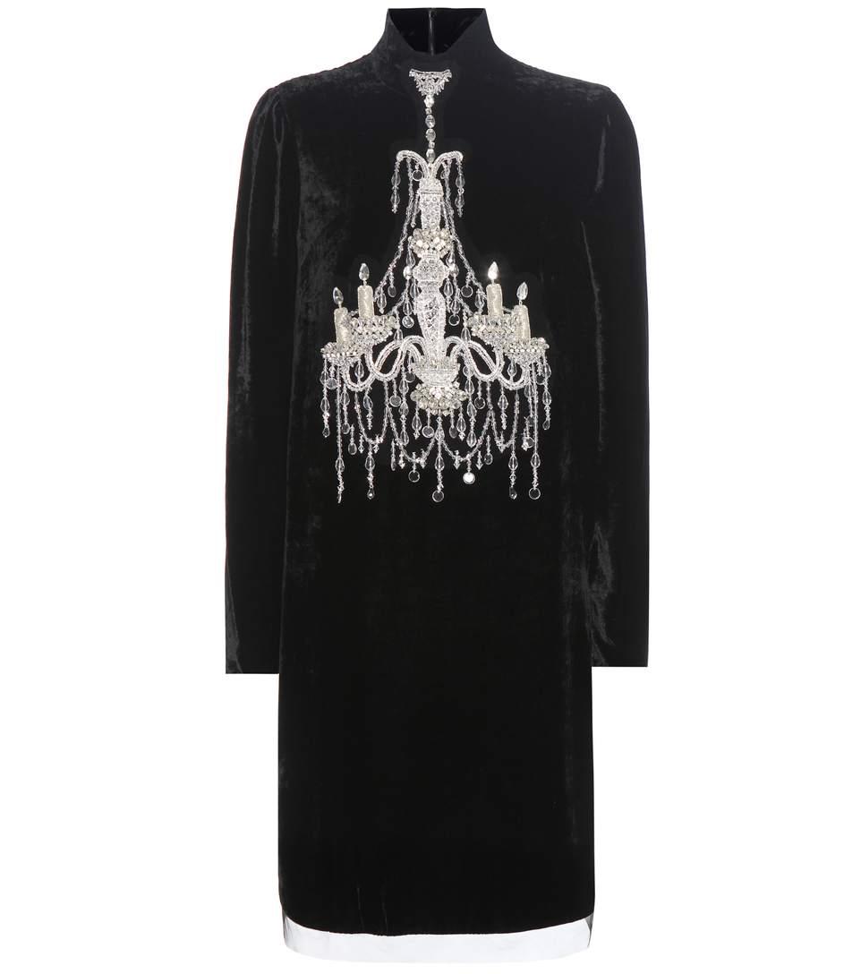 DOLCE & GABBANA Mock-Neck Embellished-Chandelier Dress, Black