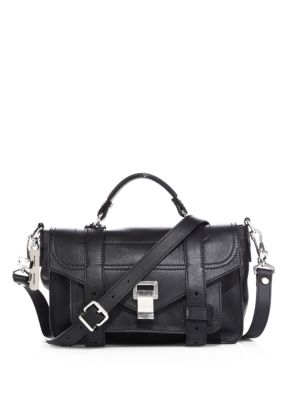 Tiny Ps1+ Grainy Leather Satchel - Black