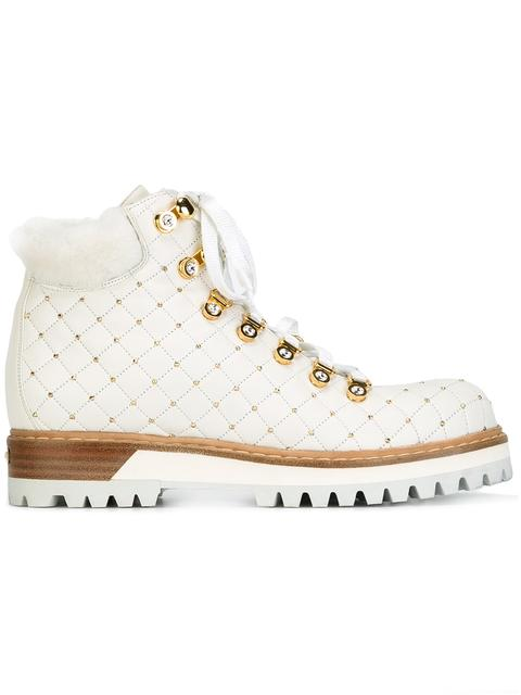 Le Silla Studded Hiking Boots - White