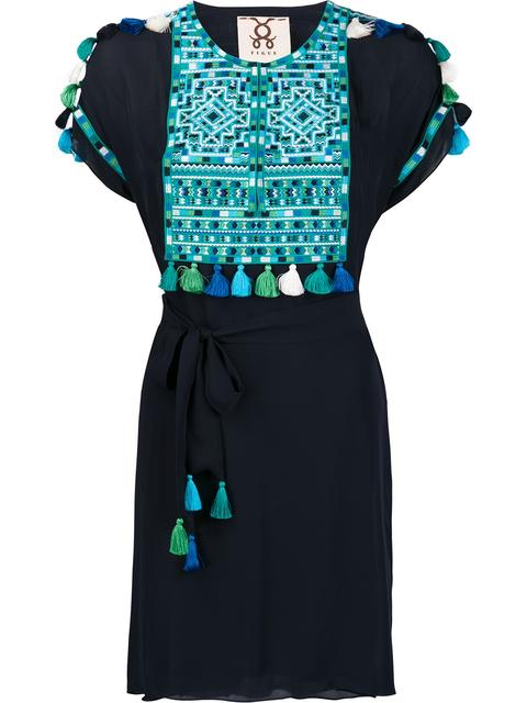 Short-Sleeve Embroidered Dress, Navy/Turquoise, Midnight Navy
