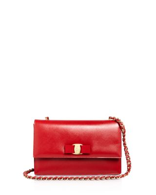 Medium Ginny Grained Leather Bow Shoulder Bag - Red, Rosso Red