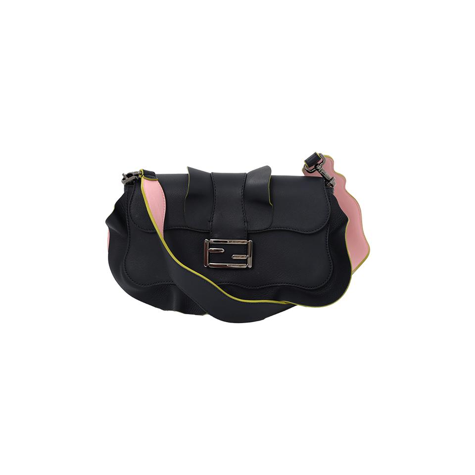 Baguette Wave Leather Bag, Black/Blue in Night