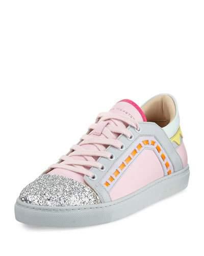 Riko Glitter Cap-Toe Sneakers, Pink in Pink Multi
