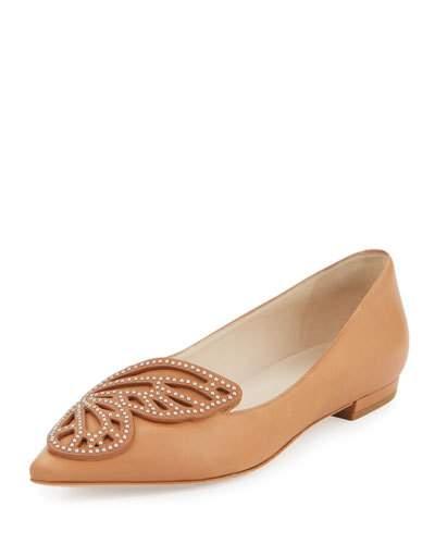 Bibi Butterfly Stud-Embellished Leather Flats, Tan