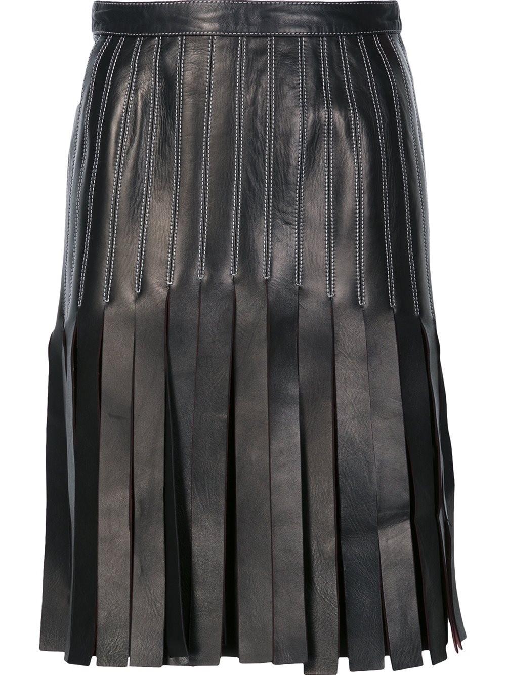 MUGLER BLACK STRAPPY A-LINE SKIRT