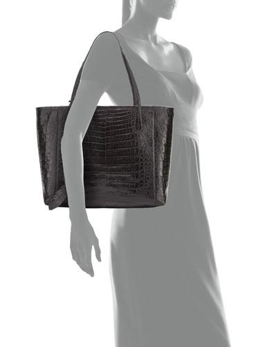 NANCY GONZALEZ Erica Small Crocodile Leaf Tote Bag in Black
