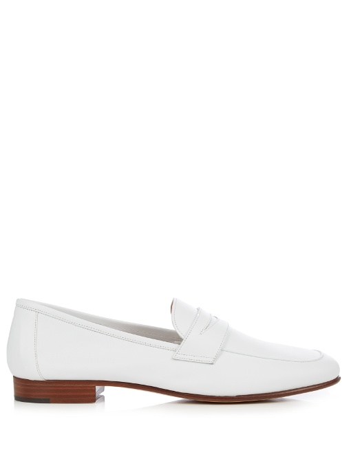'Classic' Calfskin Leather Penny Loafers, White