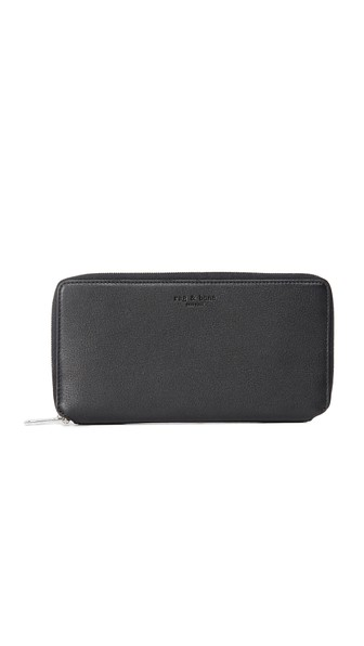 Rag And Bone Black Leather Zip Around Wallet