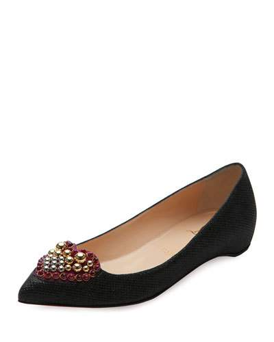 Coramia Heart-Embellished Point-Toe Flats in Black