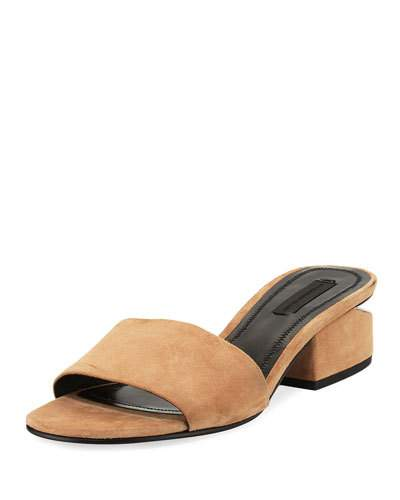 Lou Low Heel Sandals In Clay Goatskin Leather
