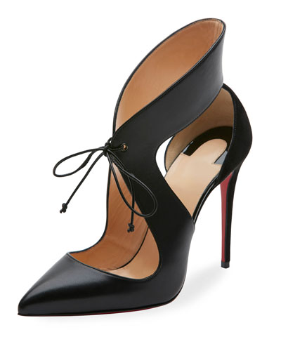 Ferme Rouge 100 Cutout Leather And Suede Pumps in Black