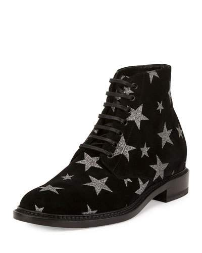 Lolita 20 Lace-Up Boot In Black Suede And Silver Glitter, Nero