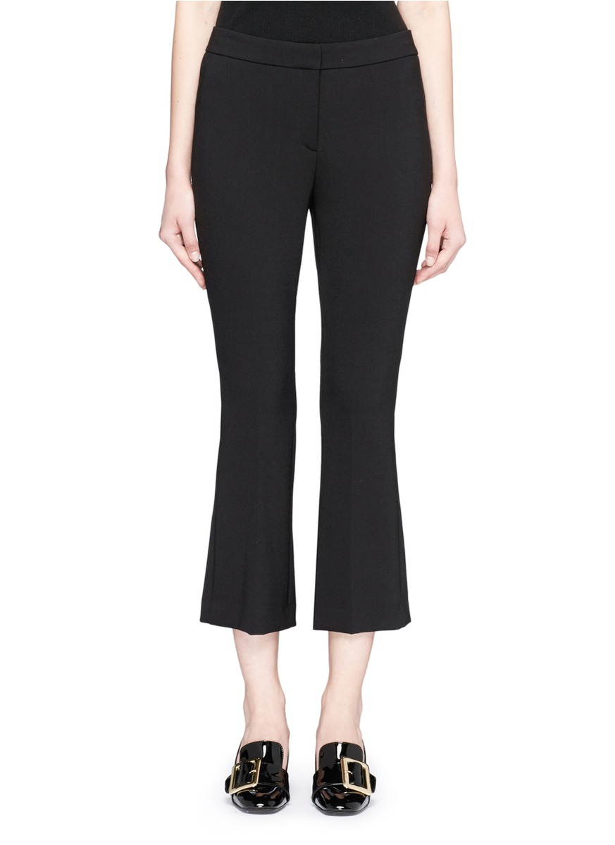 Erstina Cropped Stretch Cotton-Blend Flared Pants, Brown from LastCall.com